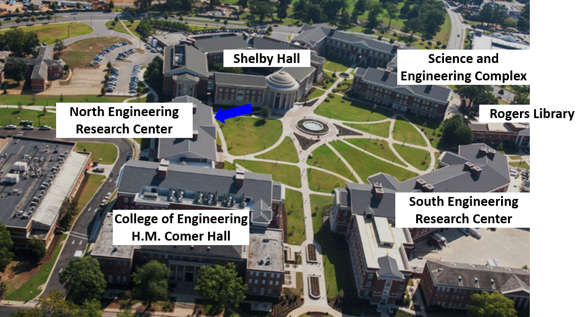 UA Shelby Science and Engineering Quad (Blue arrow: NERC 3003)
